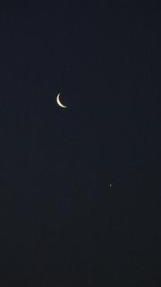 月と金星の接近(拡大)
